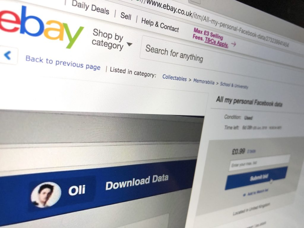 I put all my personal Facebook data on eBay | Oli Frost